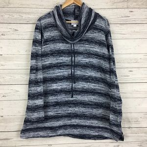 Dressbarn Sunday striped cowl neck knit lounge top